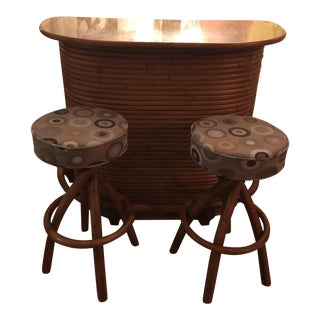 1950s Mid Century Solid Rattan Bamboo Tiki Bar With Matching Bar Stools- Set of 3 For Sale