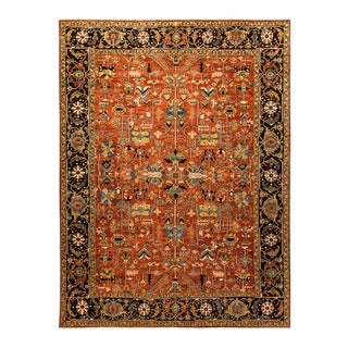 One-Of-A-Kind Oriental Serapi Hand-Knotted Area Rug, Crimson, 8' 8 X 11' 9 For Sale