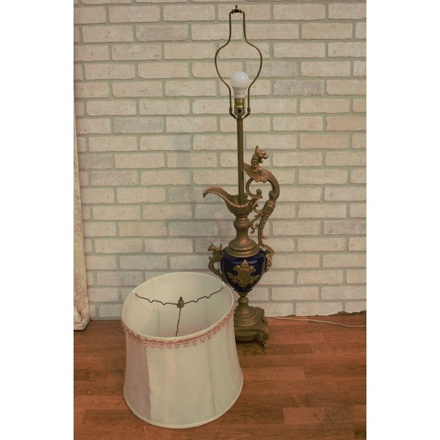 Victorian Antique French Bronze and Cobalt Blue Urn Table Lamp With Shade For Sale - Image 3 of 11