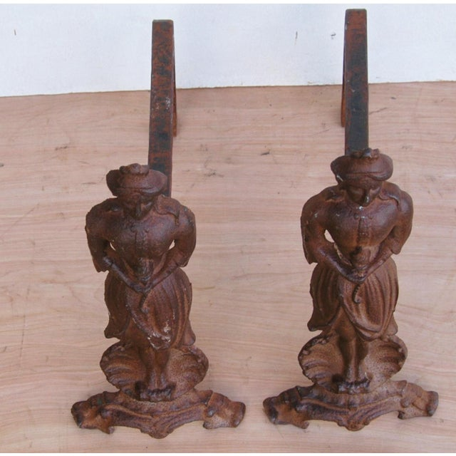 Vintage Cast Iron Lady Fireplace Andirons - Pair For Sale - Image 5 of 11