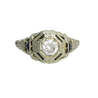 Edwardian 18k White Gold Diamond Sapphire Filigree Ring For Sale