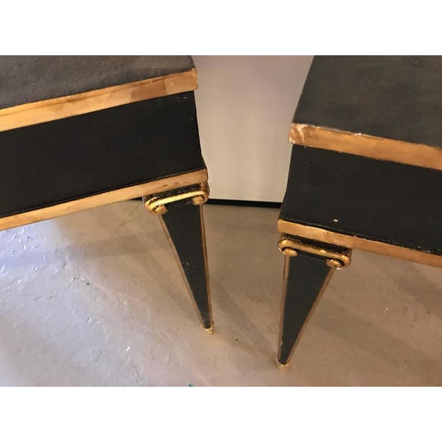 Animal Skin Maison Jansen Style End Table in Leather Top and Bronze-Mounted Legs - A Pair For Sale - Image 7 of 11