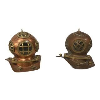 Vintage Copper & Brass Replica Divers Helmets - A Pair For Sale