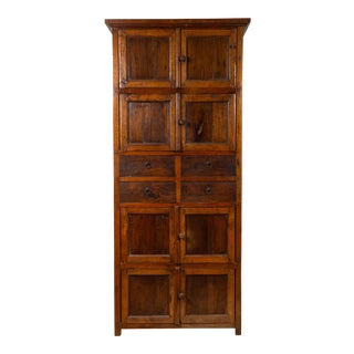 Tall Antique Javanese Teak Wood Cabinet with Four Double Doors and Drawers For Sale
