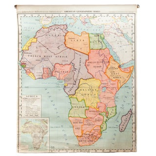 Vintage Classroom Pull Down Map of Africa For Sale