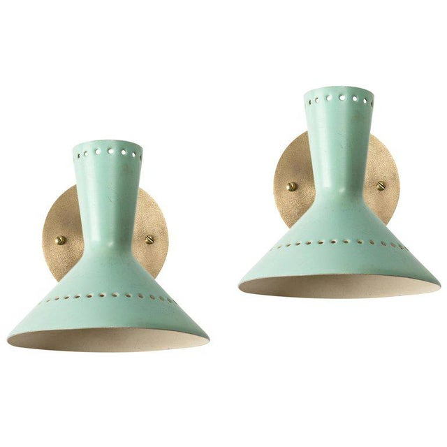1960s Italian Perforated Double-Cone Sconces in the Manner of Arteluce - a Pair For Sale - Image 11 of 11