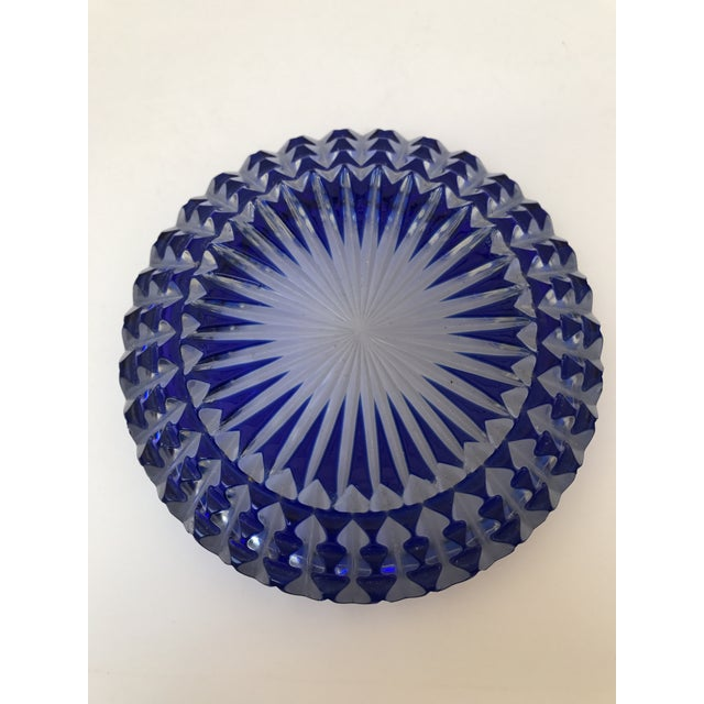 Bohemian Cobalt Blue Lead Crystal Glass Ashtray For Sale - Image 5 of 7