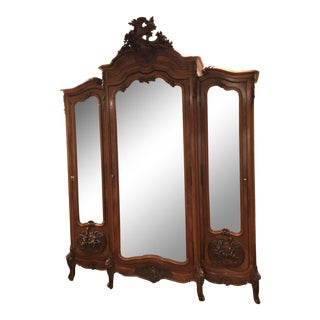1970s Mirrored Walnut Louis XV French Armoire For Sale