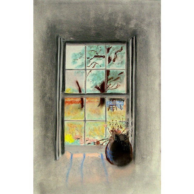 Sunny Garden Window View Pastel Drawing For Sale - Image 4 of 4