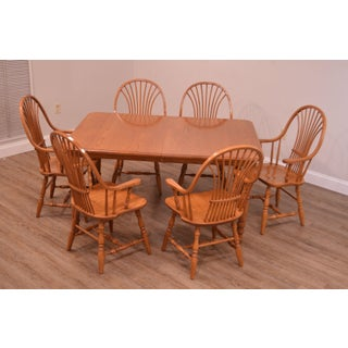 Custom Quality Oak Table & 6 Wheat Back Windsor Chairs Dining Set Preview