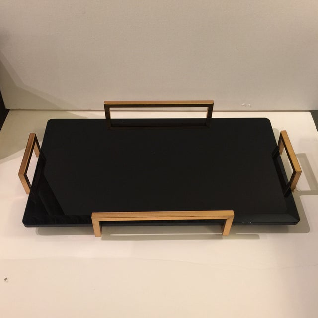 Gold Metal Handled Black Beveled Glass Tray - Image 2 of 8