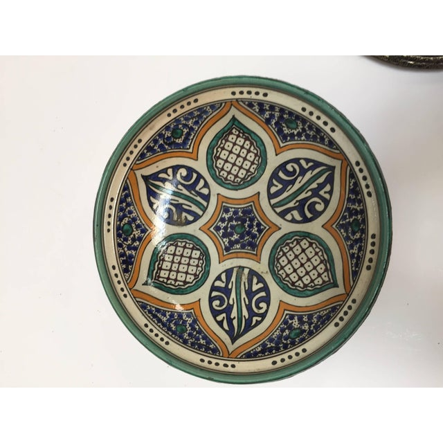 White Moroccan Ceramic Tajine From Fez Polychrome For Sale - Image 8 of 10