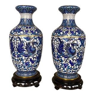 Pair Cloisonne Vases, 19th Century Cobalt Blue & Gold For Sale