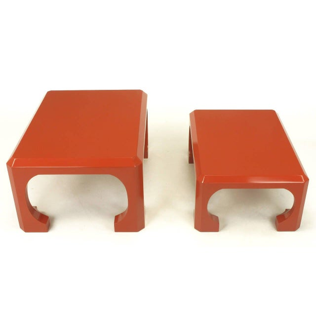 Bert England for Baker Cinnabar Red Asian Modern Stacking Tables - a Pair For Sale In Chicago - Image 6 of 9