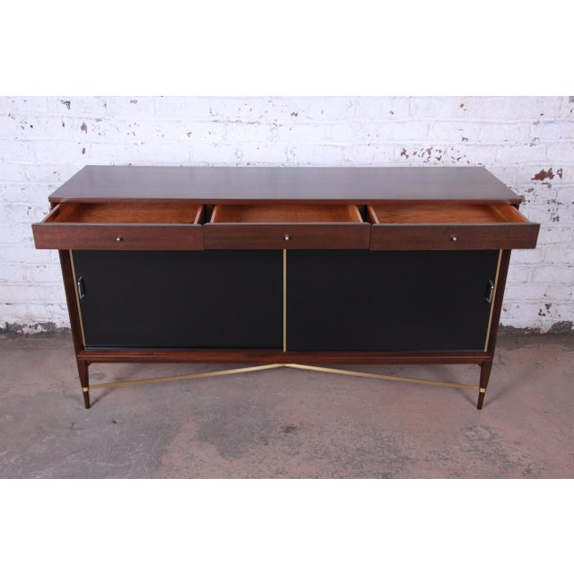Metal Paul McCobb Calvin Group Mahogany and Brass Credenza For Sale - Image 7 of 13