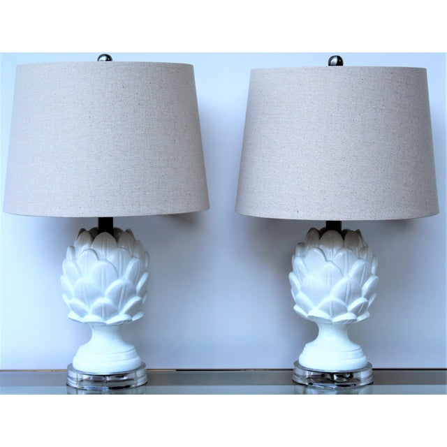 Contemporary White Artichoke Table Lamps - a Pair For Sale - Image 10 of 10