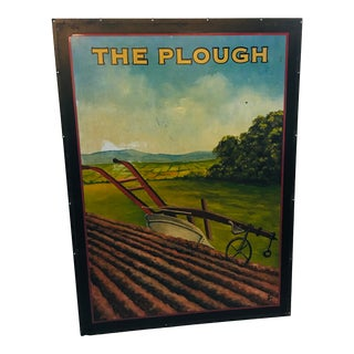 "Vintage ""The Plough"" Hand Painted English Pub Sign For Sale"