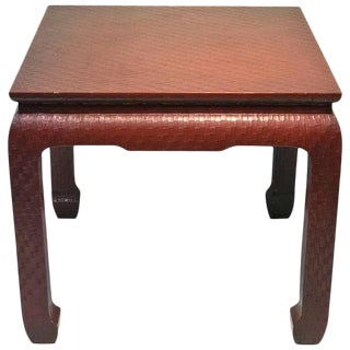 Modern Deep Red Wrapped Grass Cloth Coffee Table For Sale
