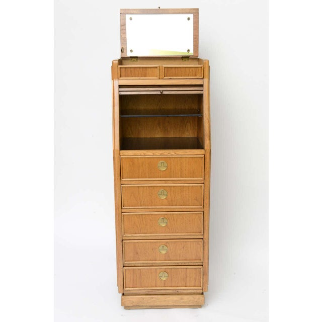 American of Martinsville Campaign Style Modern Tall Slender Dresser Valet by American of Martinsville 1960s For Sale - Image 4 of 10