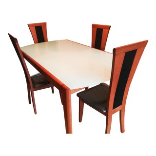 Modern Greenish Glass & Wood Dining Set For Sale