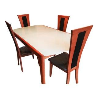 Modern Greenish Glass & Wood Dining Set For Sale