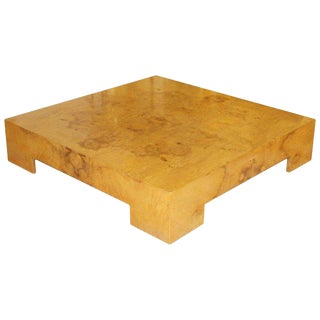Mid-Century Modern Milo Baughman Large Low Square Burl Wood Coffee Table, 1970s For Sale