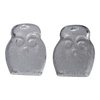 Vintage BLENKO Thick Glass Owl Bookends For Sale