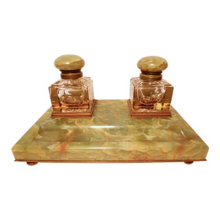 Mid 19th Century Napoleon III Onyx Glass Dore Bronze Double Inkwell and Pen Rest For Sale