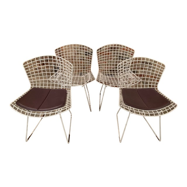 Vintage Mid Century Knoll Bertoia White Side Chairs - Set of 4 For Sale