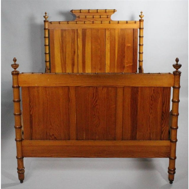 19th Century Chinoiserie Faux Bamboo 3/4 Bedframe For Sale - Image 4 of 7
