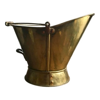 Vintage Brass Coal Scuttle With Bronze Finishings For Sale