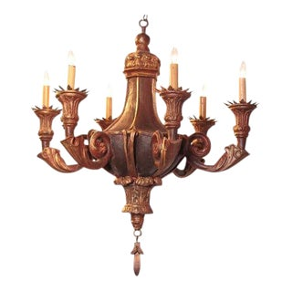 Decorative 20th Century Italian Painted Six-Light Chandelier For Sale