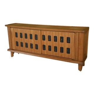 Fine Sycamore, Oak and Parcel Ebonized Credenza by Maurice Pre For Sale