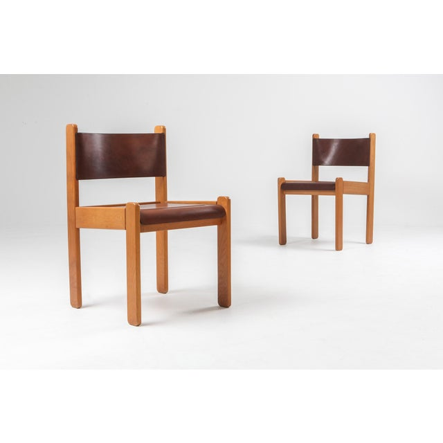1960s Oak & Leather Dining Chairs For Sale - Image 5 of 12