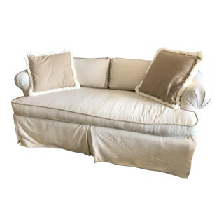 Coastal Sofa with Fringed Pillows For Sale
