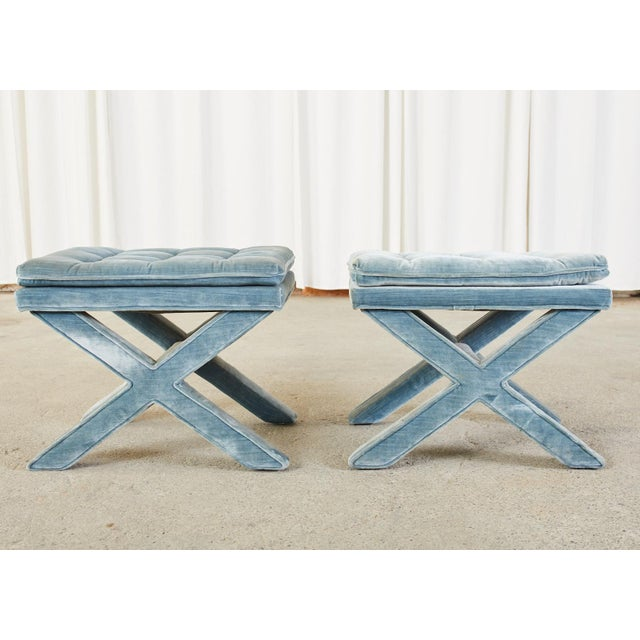 Pair of Billy Baldwin Style X Base Tufted Blue Velvet Benches For Sale - Image 12 of 13