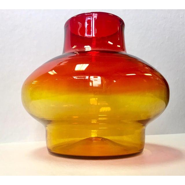 1970s Vintage Blenko Americana Obré Glass Vase For Sale In West Palm - Image 6 of 9