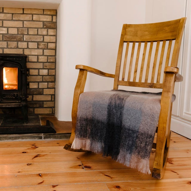 Charcoal White & Mink Check Mohair Throw For Sale - Image 10 of 10