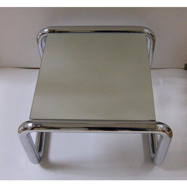 Mid-Century Modern Chromed Tubular Metal Side Table With Floating Mirrored Top - Image 2 of 7