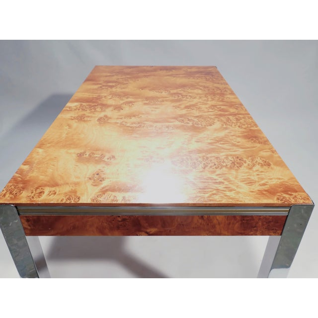 Willy Rizzo Burl Chrome Brass Dining Table, 1970s For Sale - Image 10 of 11
