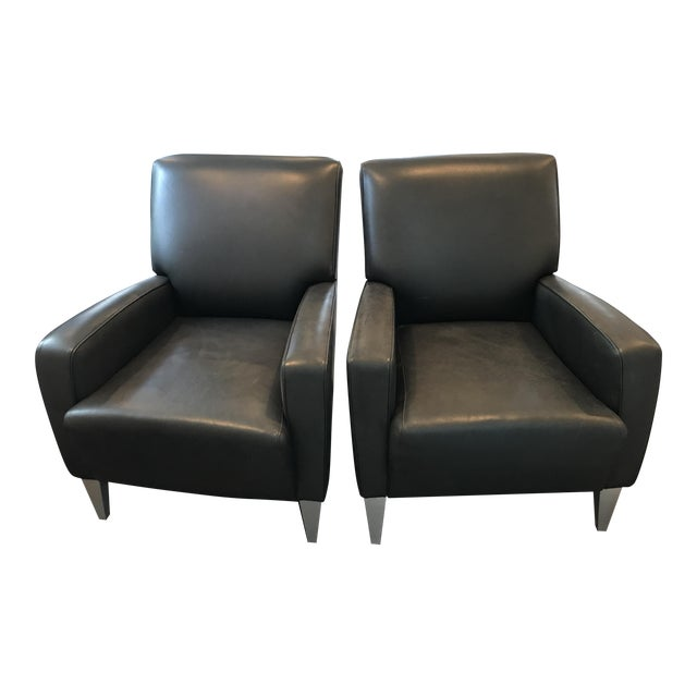 Black Leather Club Chairs - A Pair - Image 1 of 6