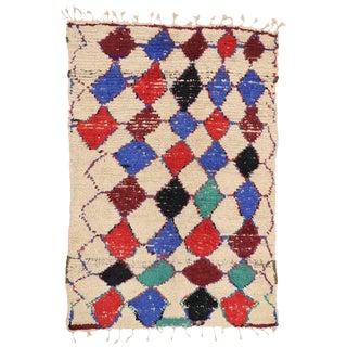 1960s Vintage Berber Moroccan Azilal Rug - 4′9″ × 7′1″ For Sale