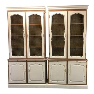 Vintage French Country Hutch Cabinets - A Pair For Sale
