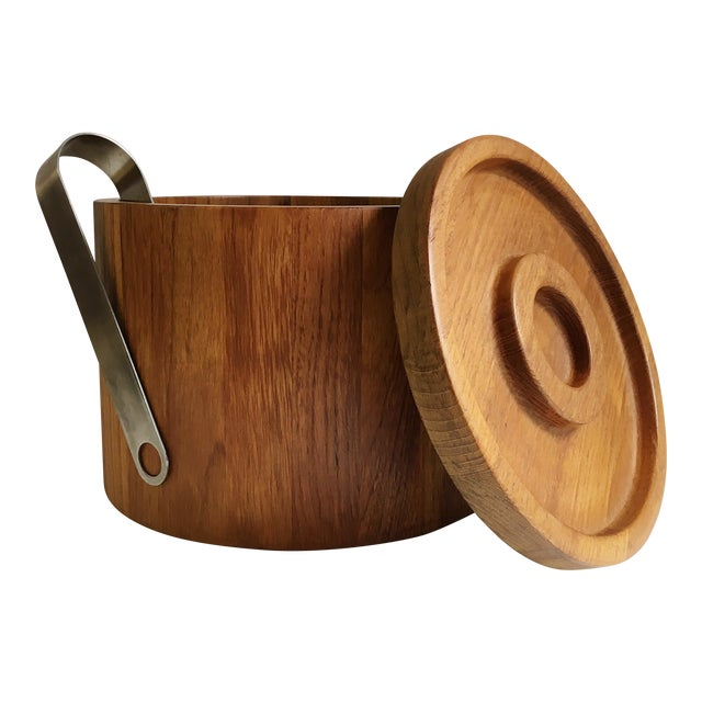 Dansk Teak Ice Bucket & Tongs - A Pair For Sale