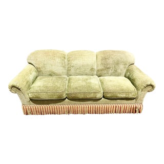 1990s Vintage Edward Ferrell Green Fringe Sofa For Sale