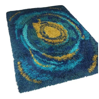 1970s Swedish Rya Low Pile Wool Shag Area Rug For Sale
