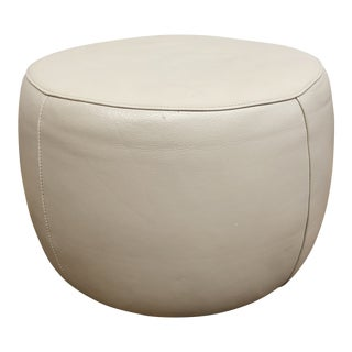Room & Board Lind Round Leather Ottoman For Sale