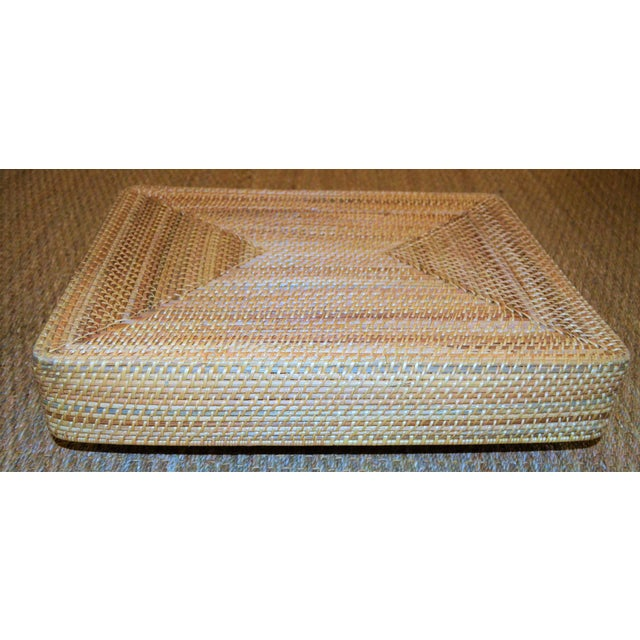 Cottage Style Rattan Woven Large Handled Tray - Image 8 of 9