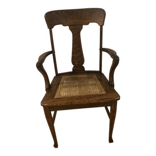 Antique Tiger Oak T Back Chair For Sale