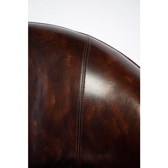 Vintage Art Deco Style Leather Accent Chairs - Set of 4 - Image 9 of 10